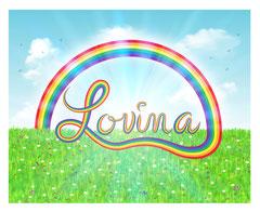 Illustration prénom Lovina Arc-en-ciel
