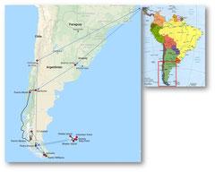 Reiseroute: Argentinien / Chile / Falklands