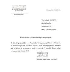 Rechnung TA Blanda - Karina 60 zl - ca. 14,65 € (Kurs 4,10)