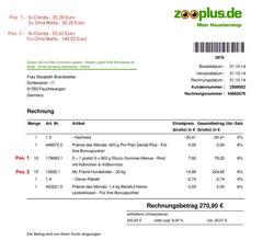 11 Rg. Zooplus 01.10.2014 Oma Marta Nassfutter  35,28 und 146,92 TroFu = 182,20 Euro