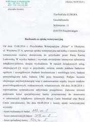 Rg. 1 - 4. Sept. 2014 - TA Praxis Olzstyn - 13 Untersuchungen 115 Zl. - Medikamente 318 Zl. -  Futter 124 ZL = 557 Zl. = 139,25 Euro