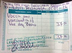 2 Rechnung Bruno; der Betrag wurde mit heutigem Datum beim TA hinterlegt, die Impfung findet aber erst später statt aufgrund des Alters