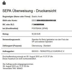 Überweisung an Bea's Igelstation 9. August 2015 - 95,00 Euro