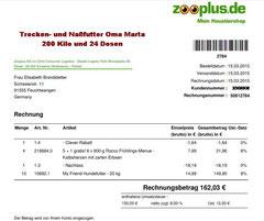 5 Rg. 15. März 2015 - € 162,03 Oma Zooplus Bestellung 50812784