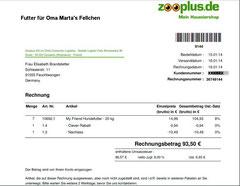 1 Rg. Futter für  Oma Marta 16.01.2014 Euro 93,50 Trockenfutter 7 Säcke
