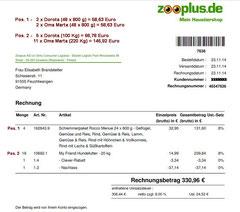12 Rg. Zooplus 23.11.2014 Oma Marta Nassfutter  58,63 und 146,92 TroFu = 205,55 Euro