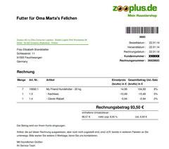 2 Rg. Futter für  Oma Marta 22.01.2014 Euro 93,50 Trockenfutter 7 Säcke