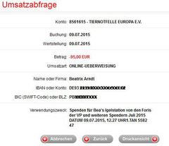 Überweisung an Bea's Igelstation 9. Juli 2015 - 95,00 Euro