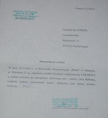 9 Rg. TA Pulsar 44 Zloty Cerfifect gegen Demodex - 23.12.14