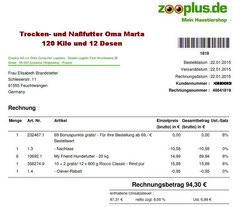 4 Rg. 22. Jan. 2015 - € 94,30 Oma Zooplus FutterBestellung 48841819