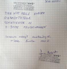 Rechnung TA Rys 100 zl - ca. 24,40 € (Kurs 4,10)