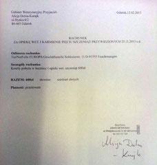 Rechnung TA Danzig 600 zl - ca. 146,34 € (Kurs 4,10)