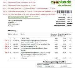8 Rg. Futter für Oma Marta 08.08.2014 Pos. 3 Trockenfutter 10 Säcke 133,57 Euro, Nassfutter 24 Dosen 29,39 Euro