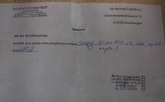 3 Rg. 277 Zl. = 69,25 Euro Tierklinik Rys 05.2015 für Snoopy im Auffanglager