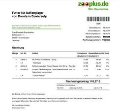 4 Rg. 18.06.2014 Euro 110,27 für Dorota Trockenfutter 4 Säcke, 48 Dosen 800 g  Rind