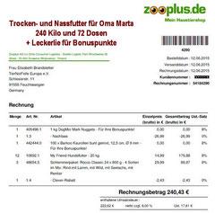 7 Rg. 12. Juni 2015 Oma Zooplus Bestellung 54184290  € 240,43