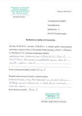 Rg. 2 - 18. Sept. 2014 - TA Praxis Olzstyn - 163 Zl. für Labor + 92 Zl. für TA Behandlung = 255 Zl. = 63,75 Euro