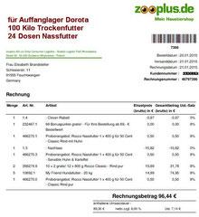 1 Rg. 21. Jan. 2015 - Dorota Zooplus Bestellung 48797398 € 96,44