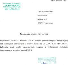 Rechnung TA Pulsar - Karina 393 zl - ca. 95,95 € (Kurs 4,10)