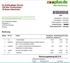 2 Rg. 15. März 2015 - Dorota Zooplus Bestellung 50812664 € 89,73
