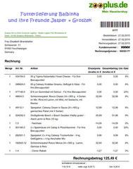 10 Rg. Zooplus Euro 125,49 vom 27.02.2015