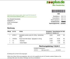 Rechnung Welpenfutter 116,54 €