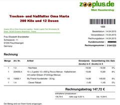 6 Rg. 14. April 2015 - € 147,72 Oma Zooplus Bestellung 51941223