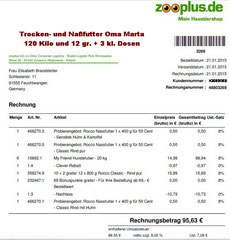 3 Rg. 21. Jan. 2015 - € 95,63 Oma Zooplus FutterBestellung 48803269