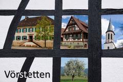 Bildnr. 348 / Fachwerk mit Rathaus, ev. Kirche, Fachwerkhaus, Obstbaum