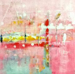 """""""Suoni rosei nell'aria"""", 2014  Tecnica mista, 94 x 95 cm"""