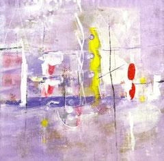"""""""Giallo verticale e forme"""", 2014  Tecnica mista, 94 x 95 cm"""