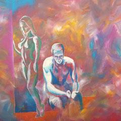Die Frage (Ausschnitt), 120 x 90 cm, Acryl auf Leinwand