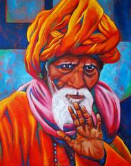 Alter indischer Mann, 80 x 100 cm, Acryl auf Leinwand