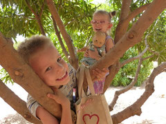 Caleb & Naomi in their favorite Mango tree