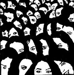 Crowd P02 | 2013 | 30x30cm | Linolschnitt