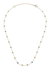 GBNSRI-151Y: Rare multicolor Baby Akoya pearls (3-4mm) finished in 14k yellow gold. Adjustable betwen 16-17.5 inches, $270