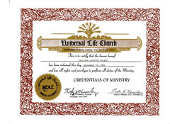 Credentials Of Ministry to The Universal Life Church