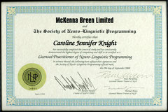 NLP Qualification Certificate, Issued by Dr Richard Bandler, Paul McKenna and Michael Breen.