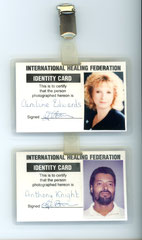Me and my now husband Tony's ID Badges: Registered Healers--Membership No's. 82 & 83 April 1998. No longer affiliated because, as with everything, the Journey of Life  moves ever onward to pastures new!