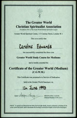 Greater World Certificate