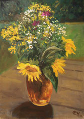 Sunflowers In A Vase, Öl_Lwd.50x70cm