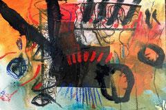 """""""Zeitreise #10"""", 2018, Mischtechnik auf Bütten, 38x57 cm"""