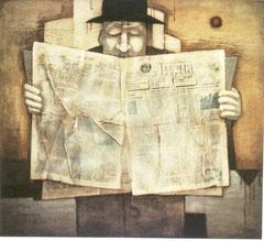 Большой читатель (х. м., 100х110, 1991)