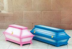 Kindersarg rosa / blau