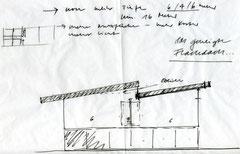 Lehrlingswerkstätten Komturei Tobel: Skizze Pultdach