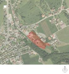 Lehrlingswerkstätten Komturei Tobel: Situation, rot: Komturei (Quelle: Amt für Geoinformation Thurgau)