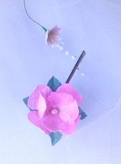 fleur en tissu de soie sauvage, création brodée, réalisée par Maria Salvador