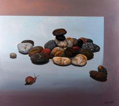 Βότσαλα και σαλιγκάρι,   κώδικας №144, (90χ100cm)  (χωρίς κορνίζα)   ,  λαδι σε μουσαμα