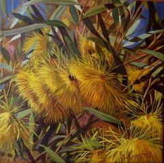 Κίτρινα λουλούδια, κώδικας №B80, (20χ20cm) λαδι σε μουσαμα, -μη διαθέσιμο-SOLD
