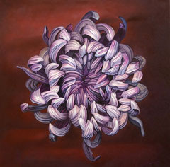 Μωβ λουλούδι  κώδικας №112  (100χ100cm)    λαδι σε μουσαμα